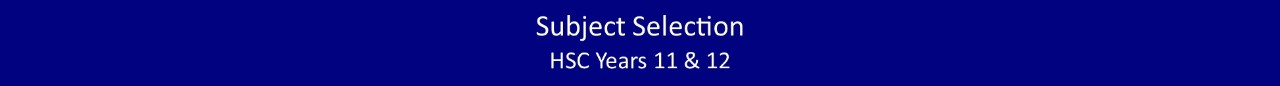 HSC Subject Selection